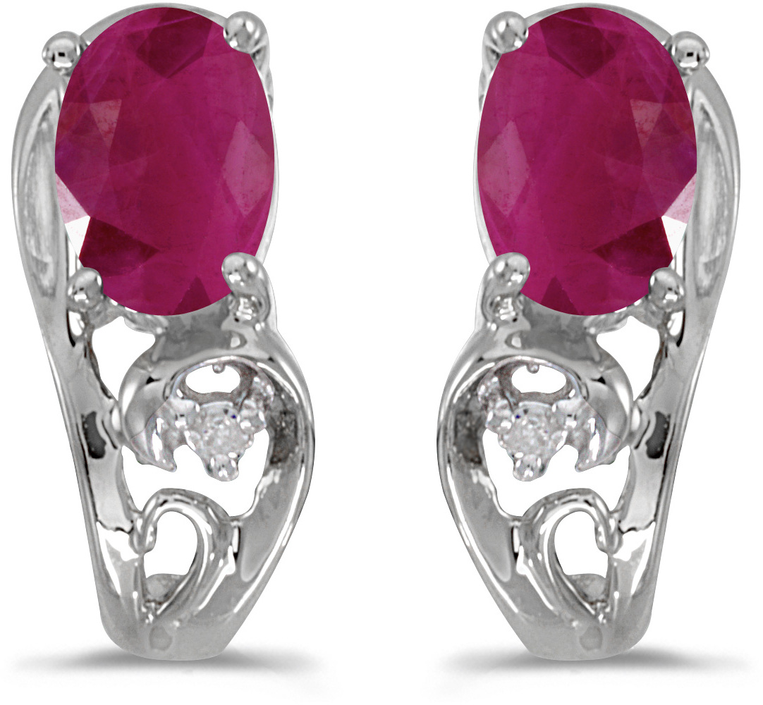 14k White Gold Oval Ruby And Diamond Earrings (CM-E2590XW-07)