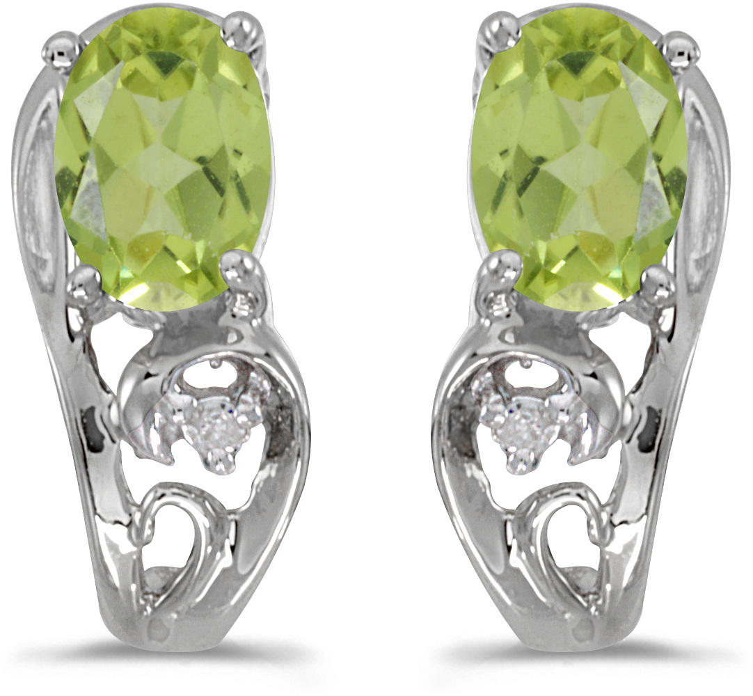 14k White Gold Oval Peridot And Diamond Earrings (CM-E2590XW-08)