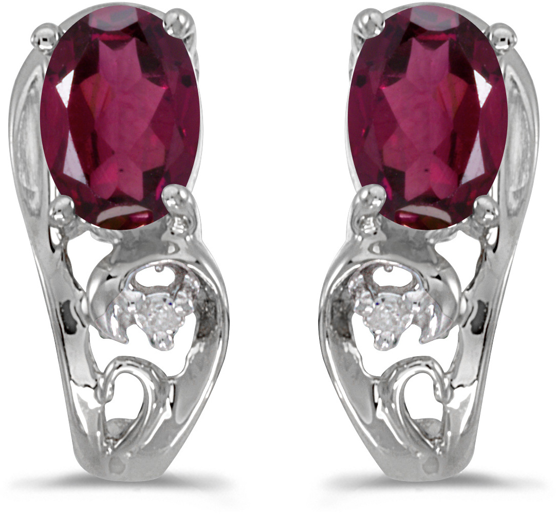 14k White Gold Oval Rhodolite Garnet And Diamond Earrings (CM-E2590XW-RG)
