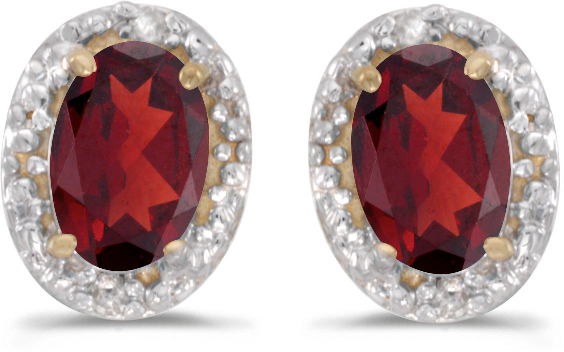 14k Yellow Gold Oval Garnet And Diamond Earrings (CM-E2615X-01)