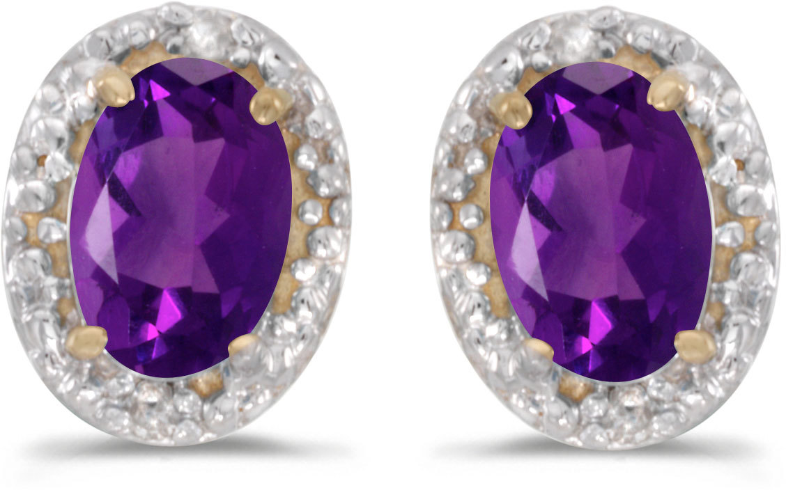 14k Yellow Gold Oval Amethyst And Diamond Earrings (CM-E2615X-02)