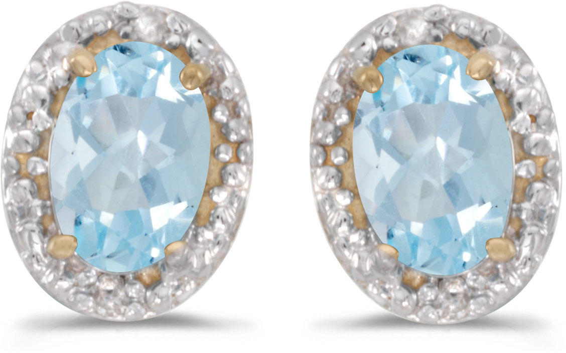 14k Yellow Gold Oval Aquamarine And Diamond Earrings (CM-E2615X-03)