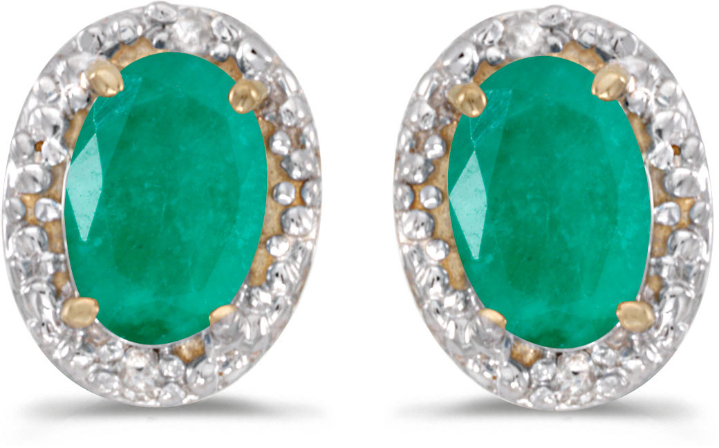 14k Yellow Gold Oval Emerald And Diamond Earrings (CM-E2615X-05)