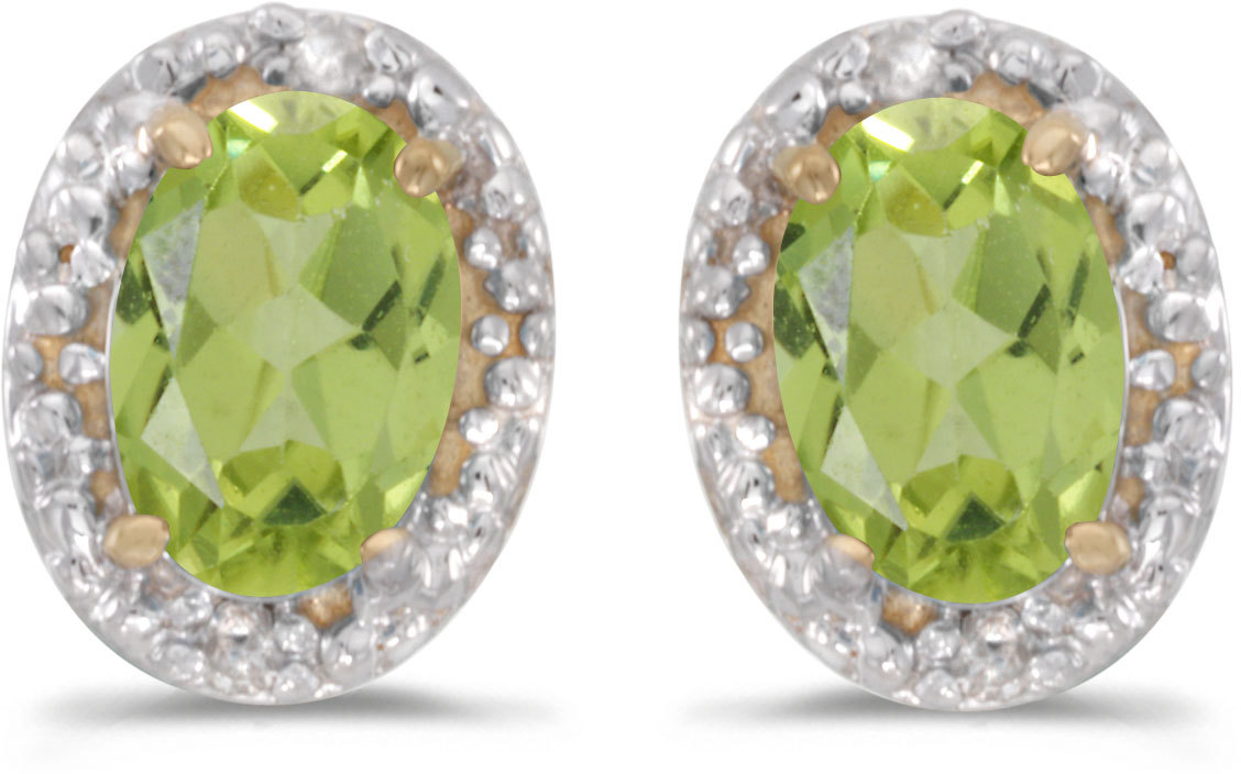14k Yellow Gold Oval Peridot And Diamond Earrings (CM-E2615X-08)