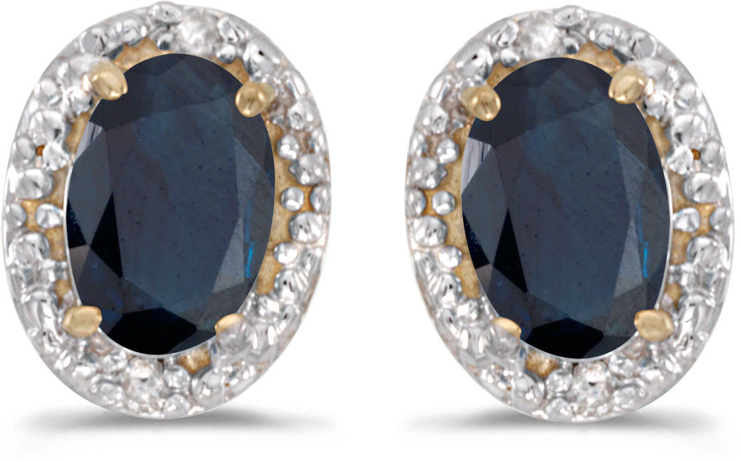 14k Yellow Gold Oval Sapphire And Diamond Earrings (CM-E2615X-09)