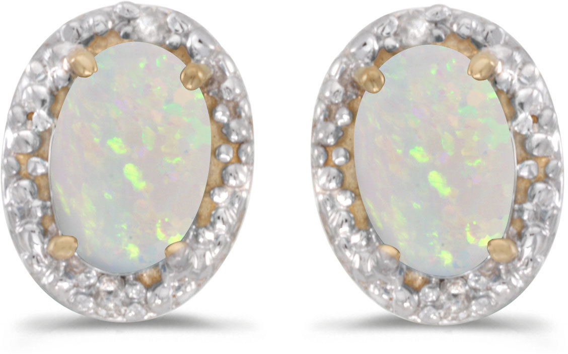 14k Yellow Gold Oval Opal And Diamond Earrings (CM-E2615X-10)