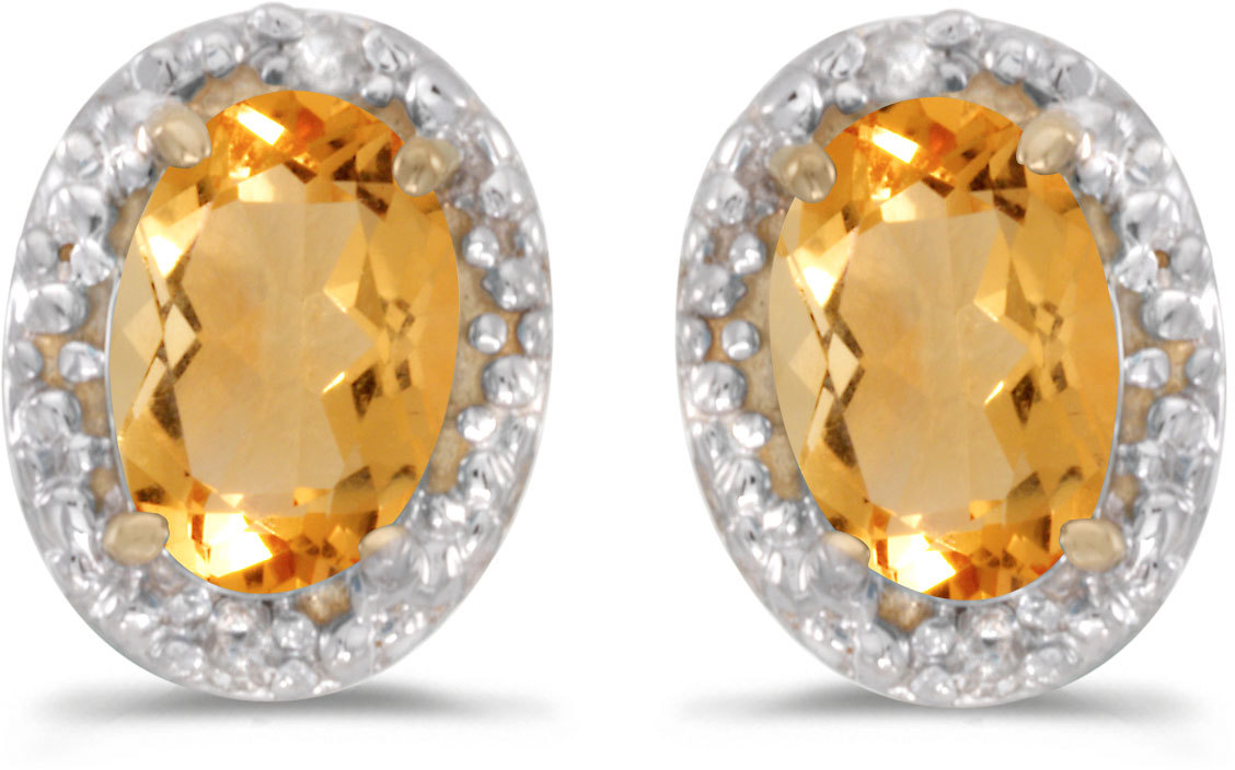 14k Yellow Gold Oval Citrine And Diamond Earrings (CM-E2615X-11)