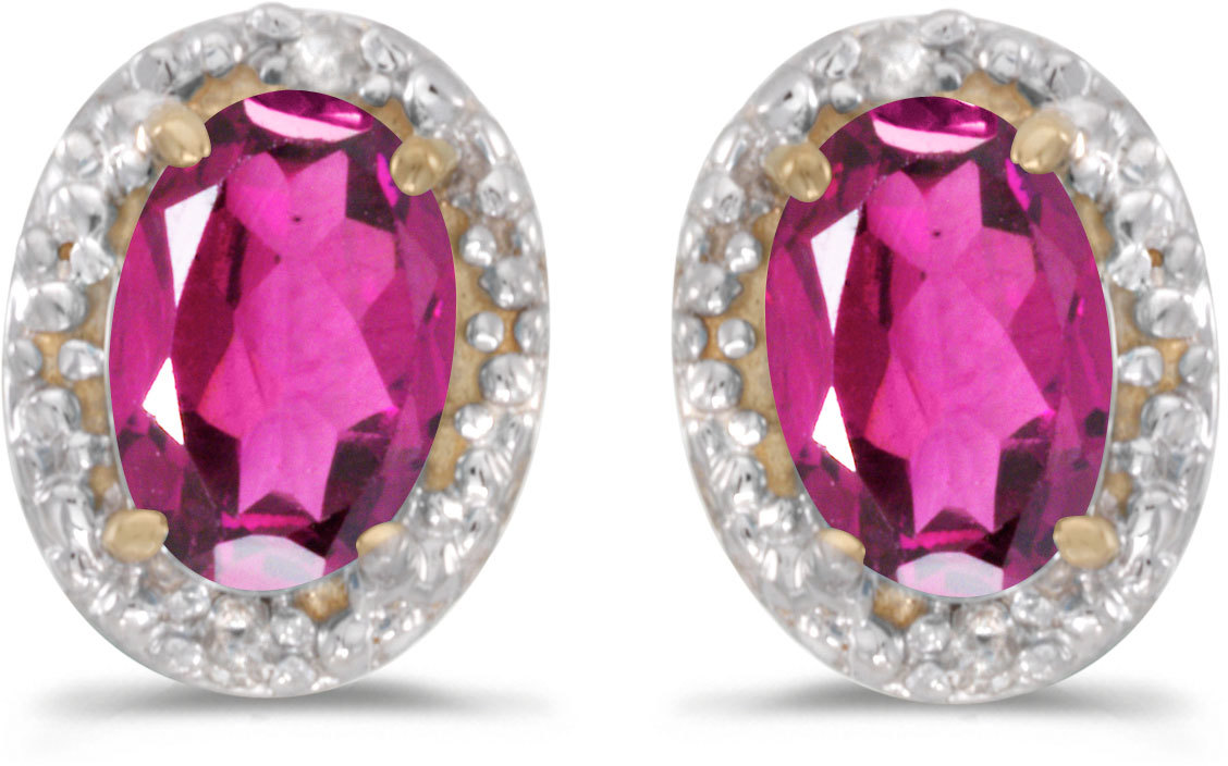 14k Yellow Gold Oval Pink Topaz And Diamond Earrings (CM-E2615X-PT)