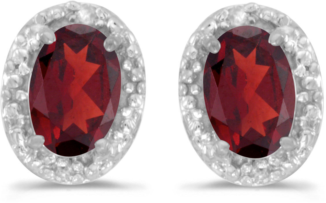 14k White Gold Oval Garnet And Diamond Earrings (CM-E2615XW-01)