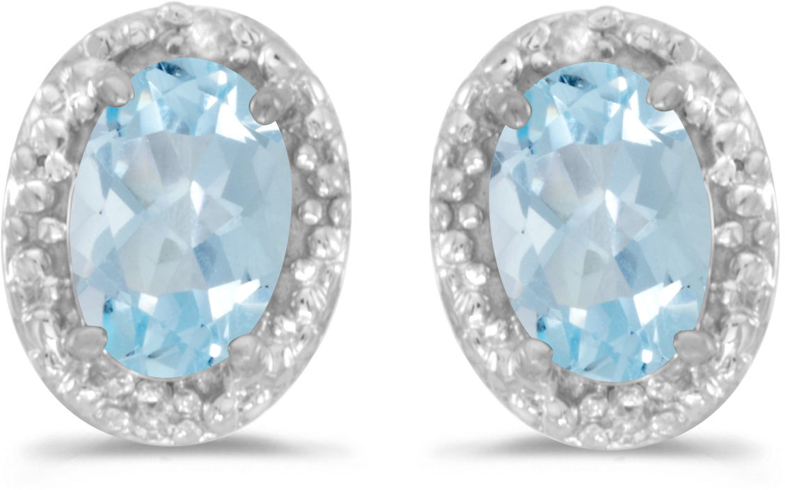 14k White Gold Oval Aquamarine And Diamond Earrings (CM-E2615XW-03)