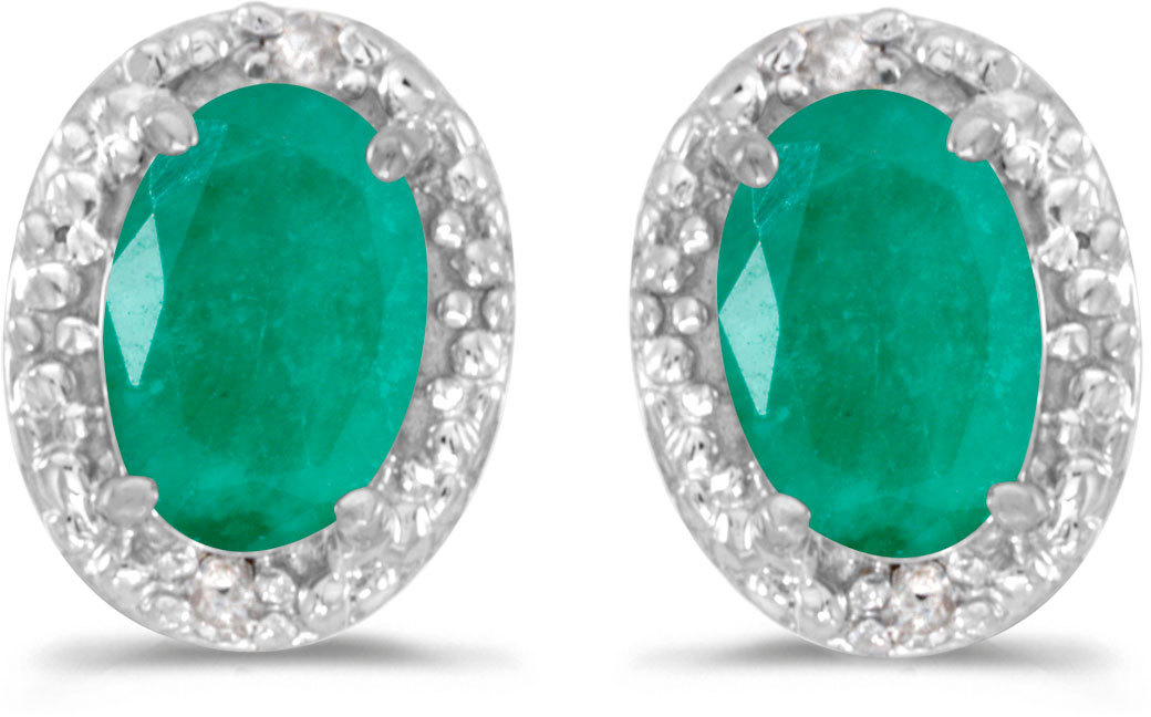 14k White Gold Oval Emerald And Diamond Earrings (CM-E2615XW-05)