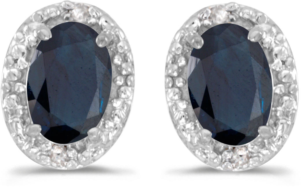 14k White Gold Oval Sapphire And Diamond Earrings (CM-E2615XW-09)