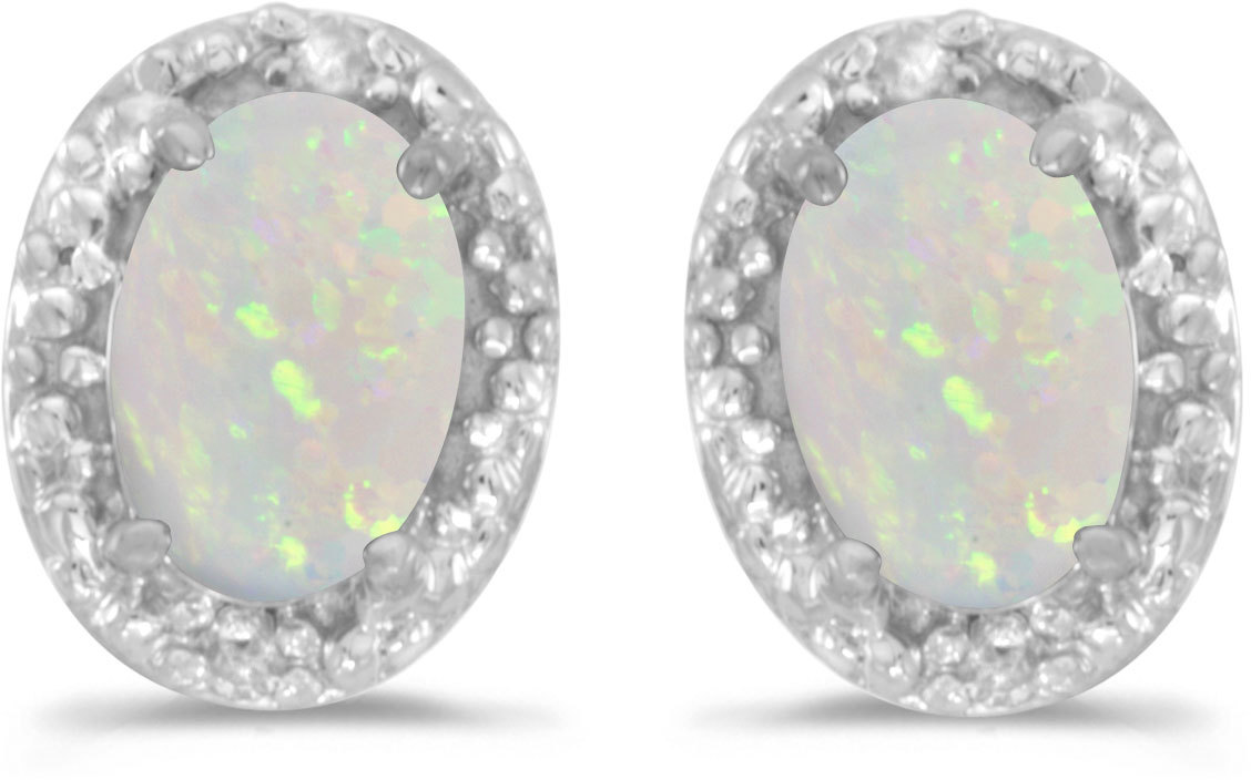 14k White Gold Oval Opal And Diamond Earrings (CM-E2615XW-10)