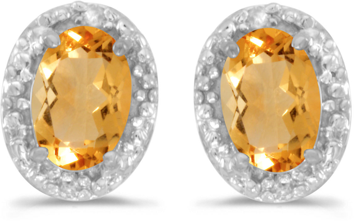 14k White Gold Oval Citrine And Diamond Earrings (CM-E2615XW-11)