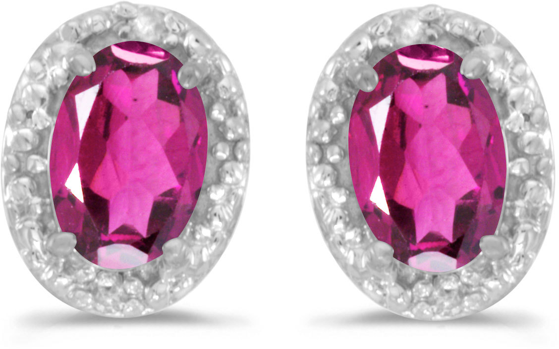 14k White Gold Oval Pink Topaz And Diamond Earrings (CM-E2615XW-PT)