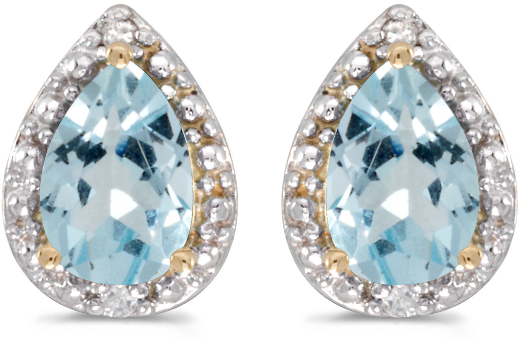 14k Yellow Gold Pear Aquamarine And Diamond Earrings