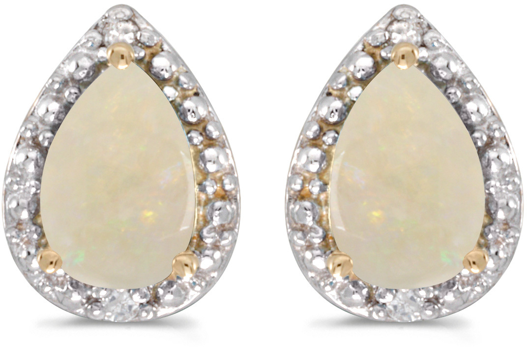 14k Yellow Gold Pear Opal And Diamond Earrings