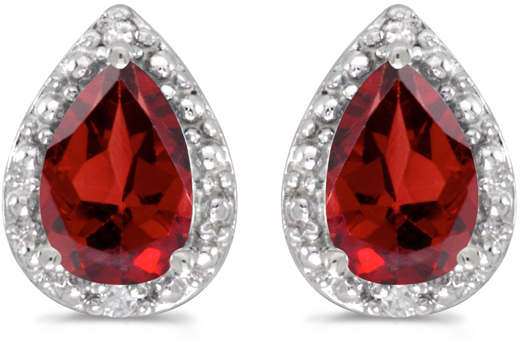 14k White Gold Pear Garnet And Diamond Earrings