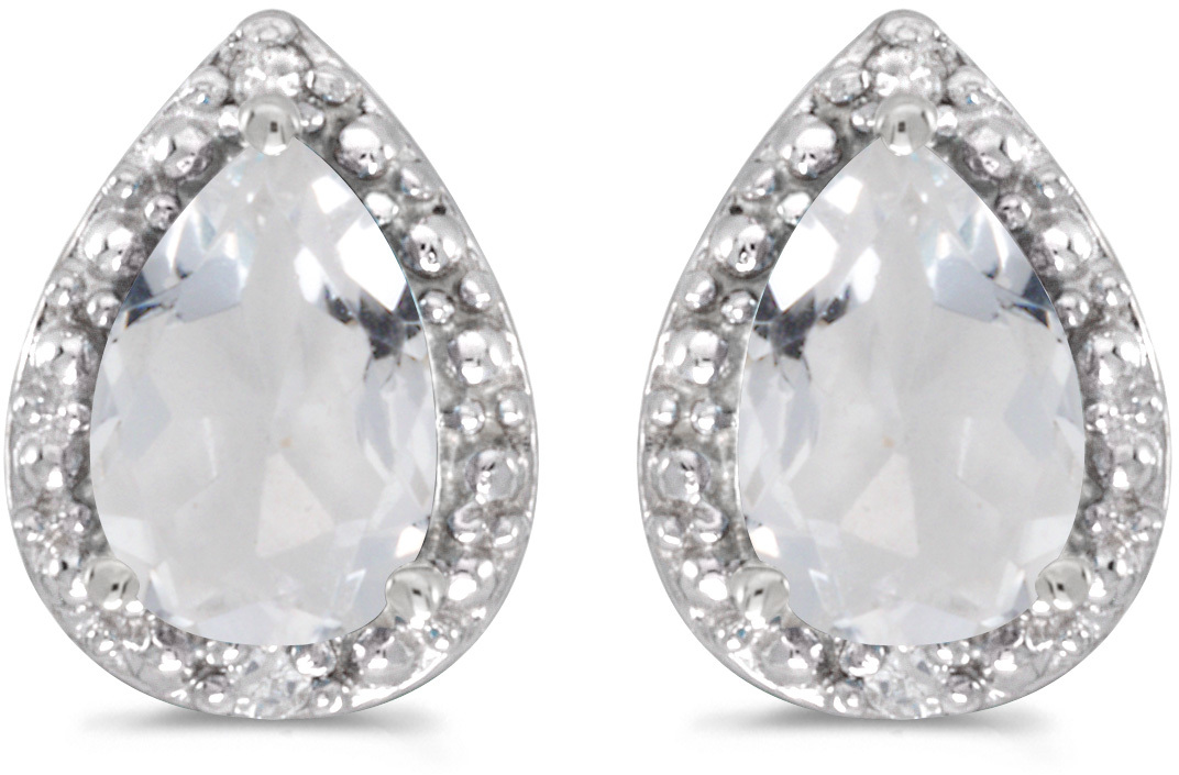 14k White Gold Pear White Topaz And Diamond Earrings