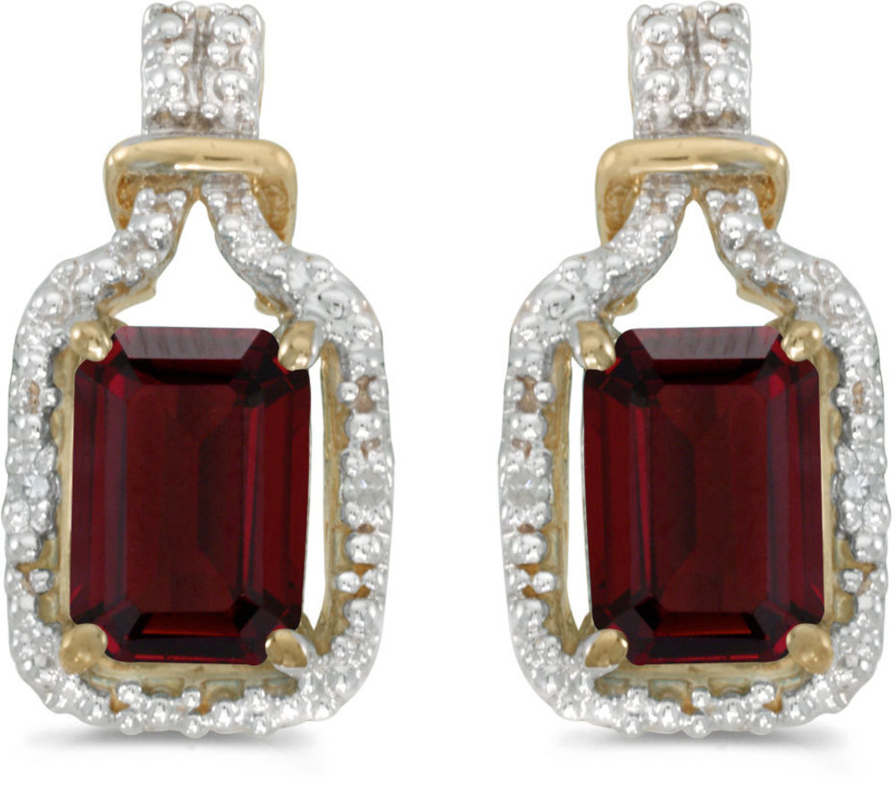 14k Yellow Gold Emerald-cut Garnet And Diamond Earrings