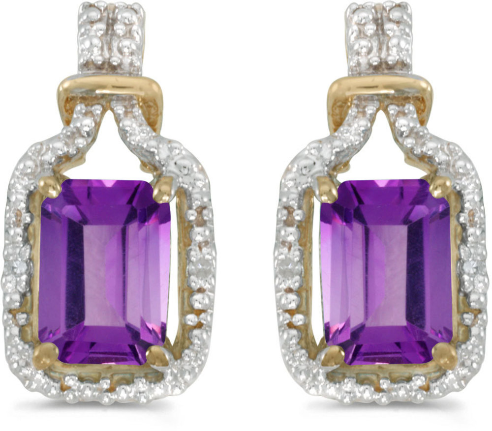 14k Yellow Gold Emerald-cut Amethyst And Diamond Earrings