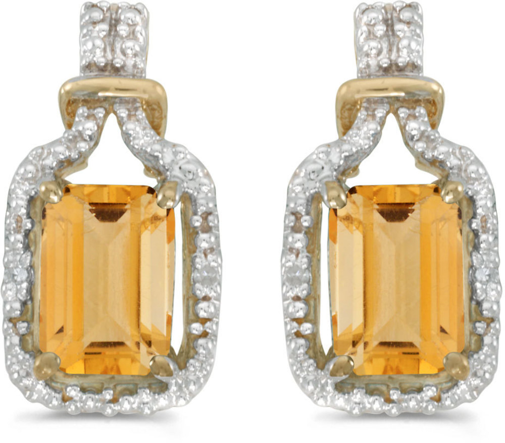 14k Yellow Gold Emerald-cut Citrine And Diamond Earrings