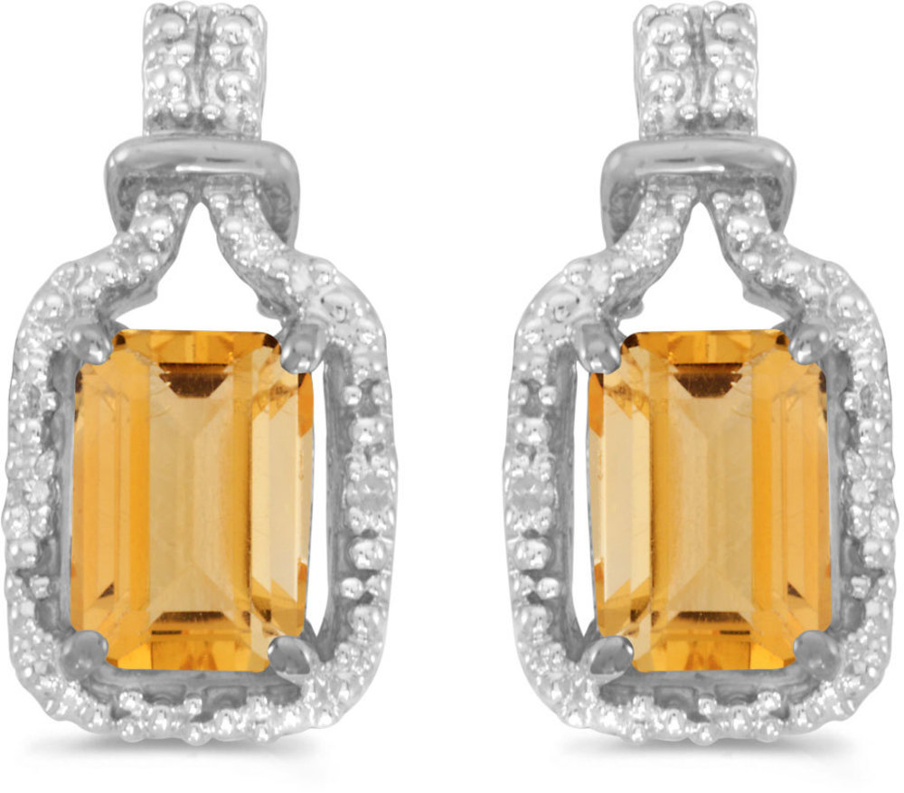 14k White Gold Emerald-cut Citrine And Diamond Earrings
