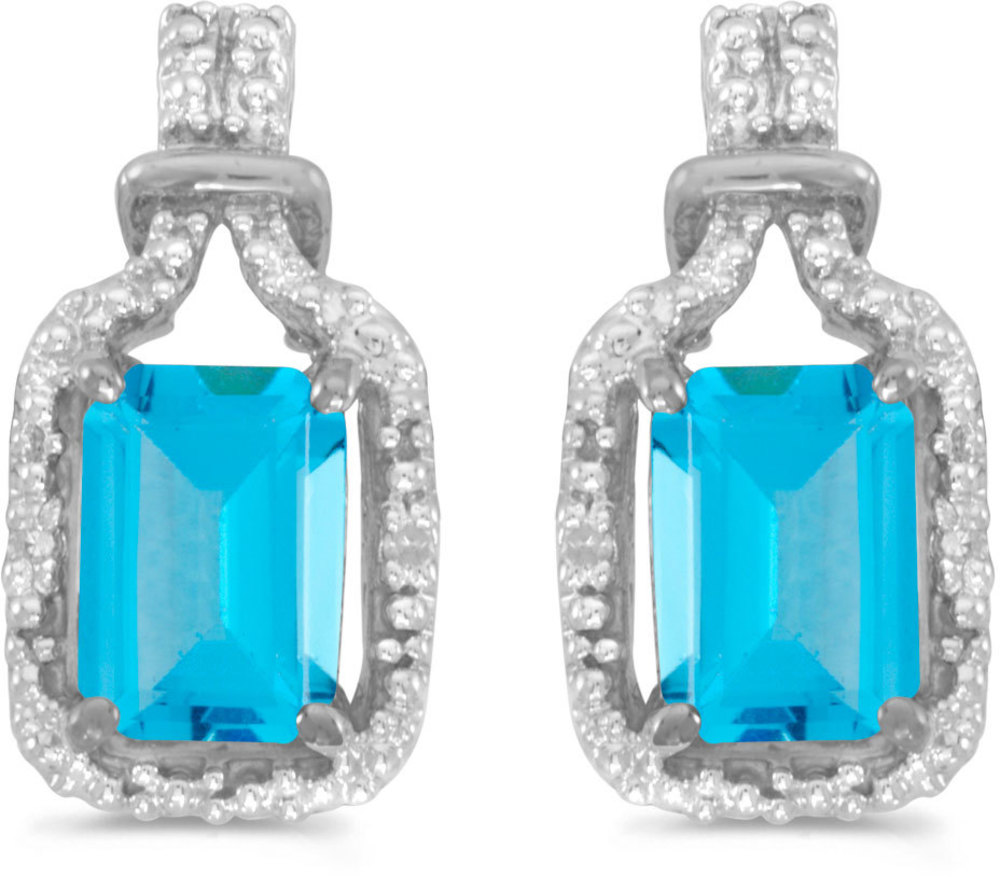 14k White Gold Emerald-cut Blue Topaz And Diamond Earrings