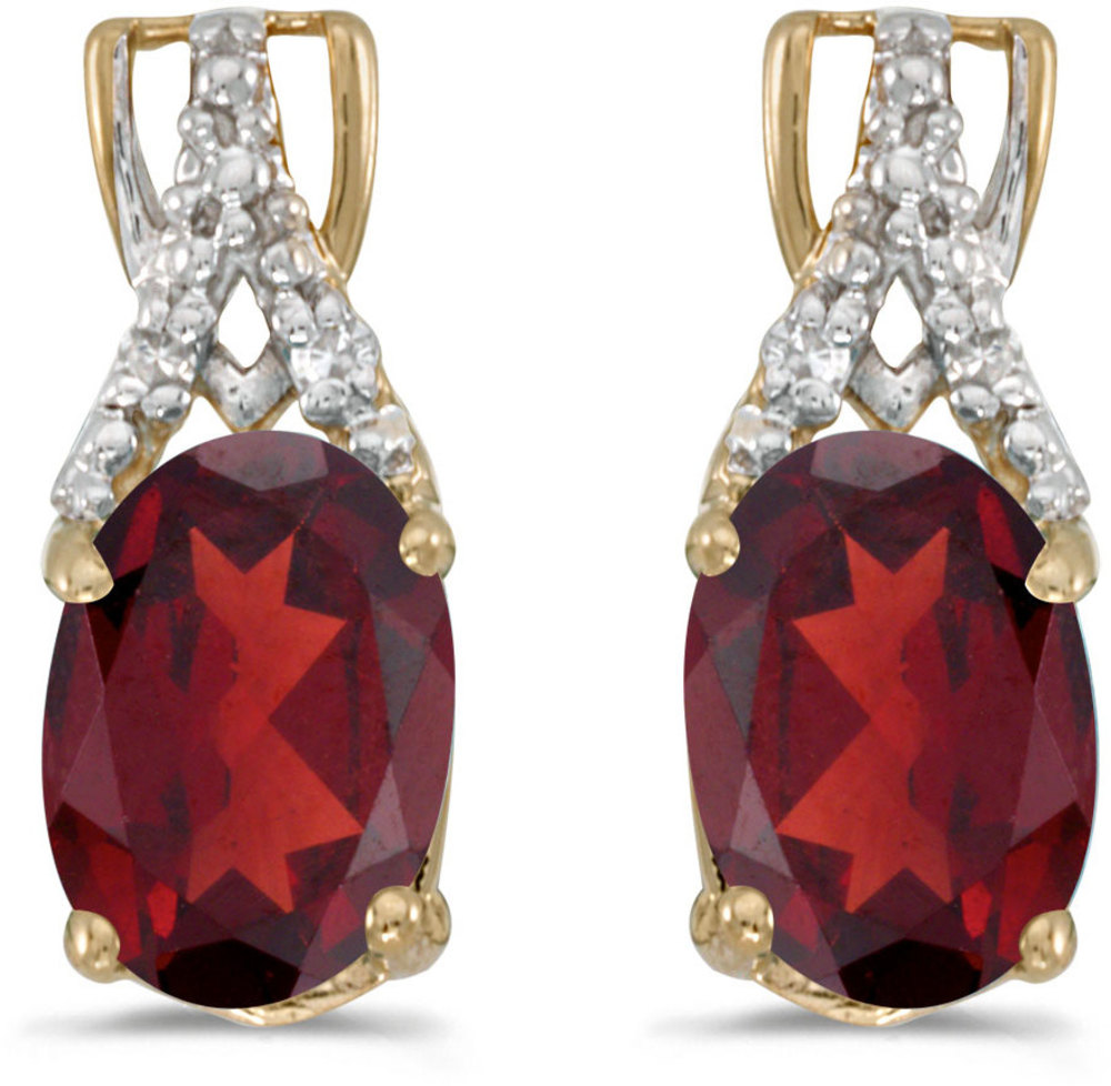 14k Yellow Gold Oval Garnet And Diamond Earrings (CM-E2620X-01)