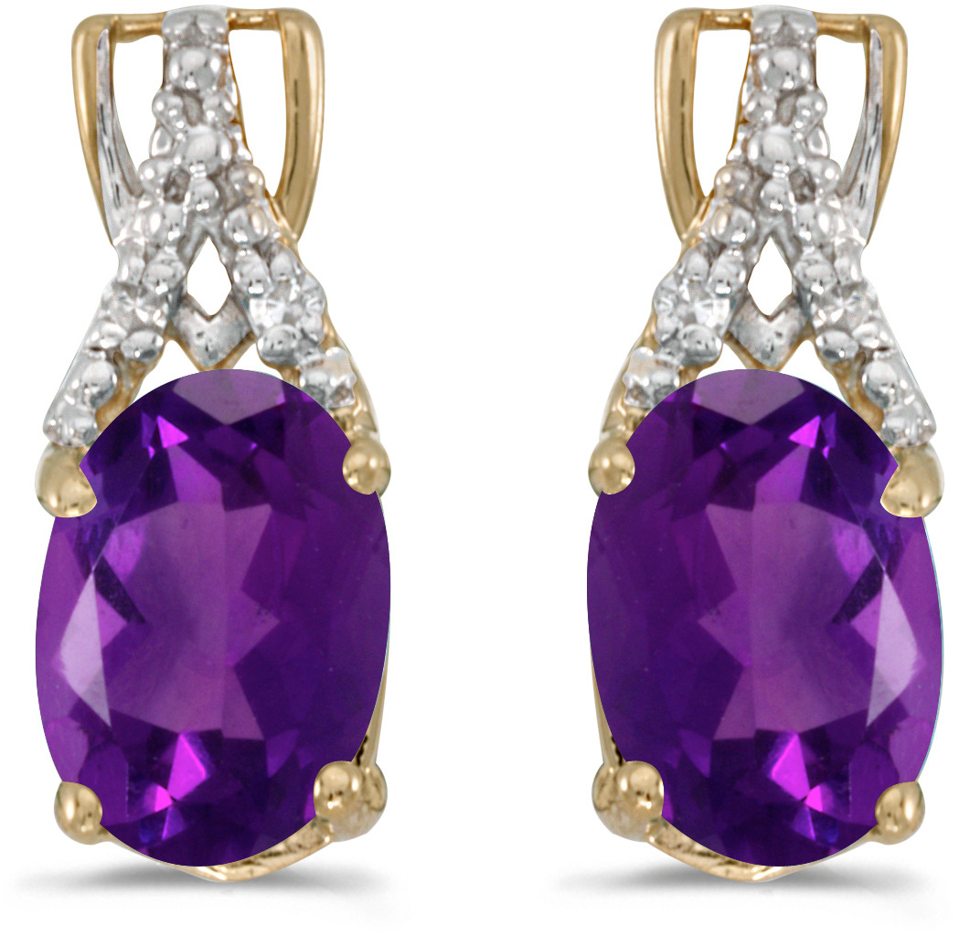 14k Yellow Gold Oval Amethyst And Diamond Earrings (CM-E2620X-02)