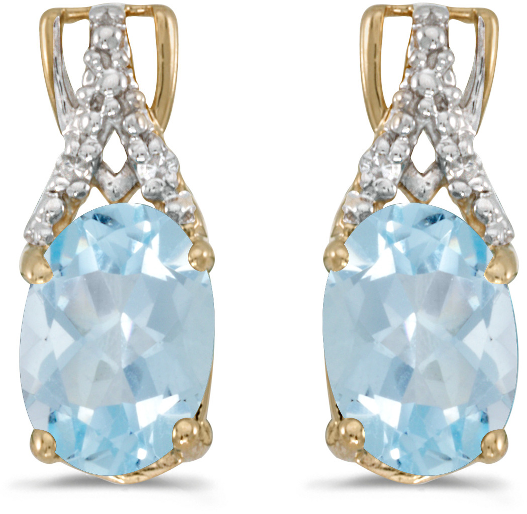 14k Yellow Gold Oval Aquamarine And Diamond Earrings (CM-E2620X-03)