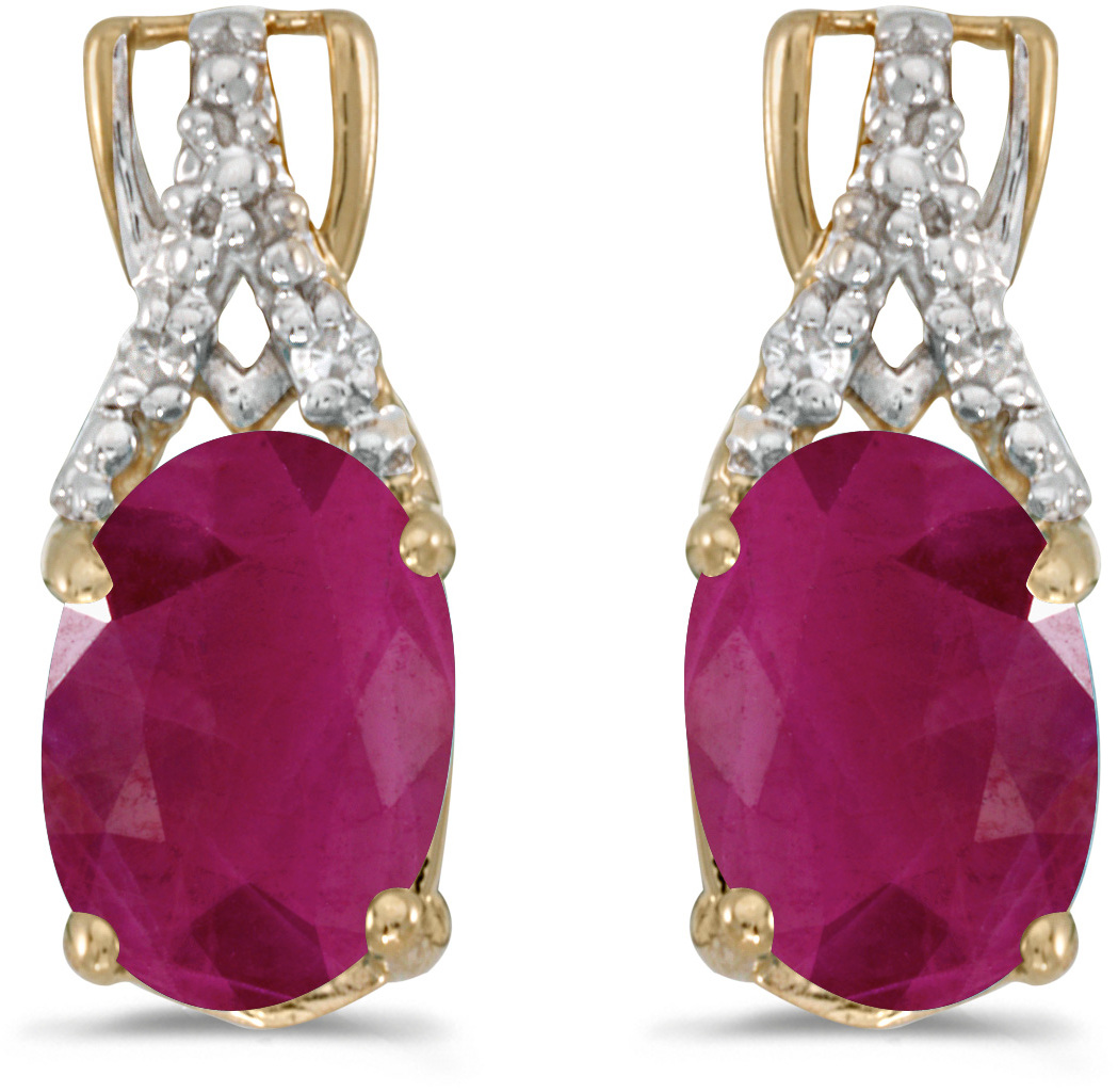 14k Yellow Gold Oval Ruby And Diamond Earrings (CM-E2620X-07)