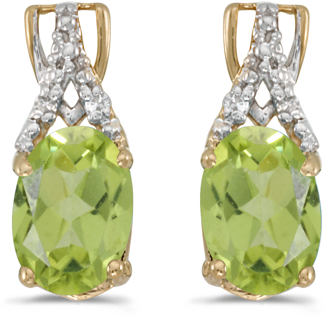 14k Yellow Gold Oval Peridot And Diamond Earrings (CM-E2620X-08)
