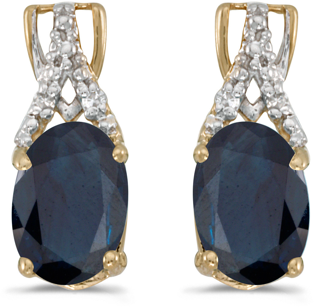 14k Yellow Gold Oval Sapphire And Diamond Earrings (CM-E2620X-09)