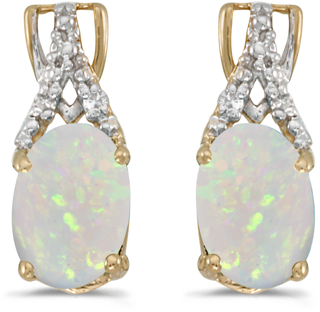 14k Yellow Gold Oval Opal And Diamond Earrings (CM-E2620X-10)