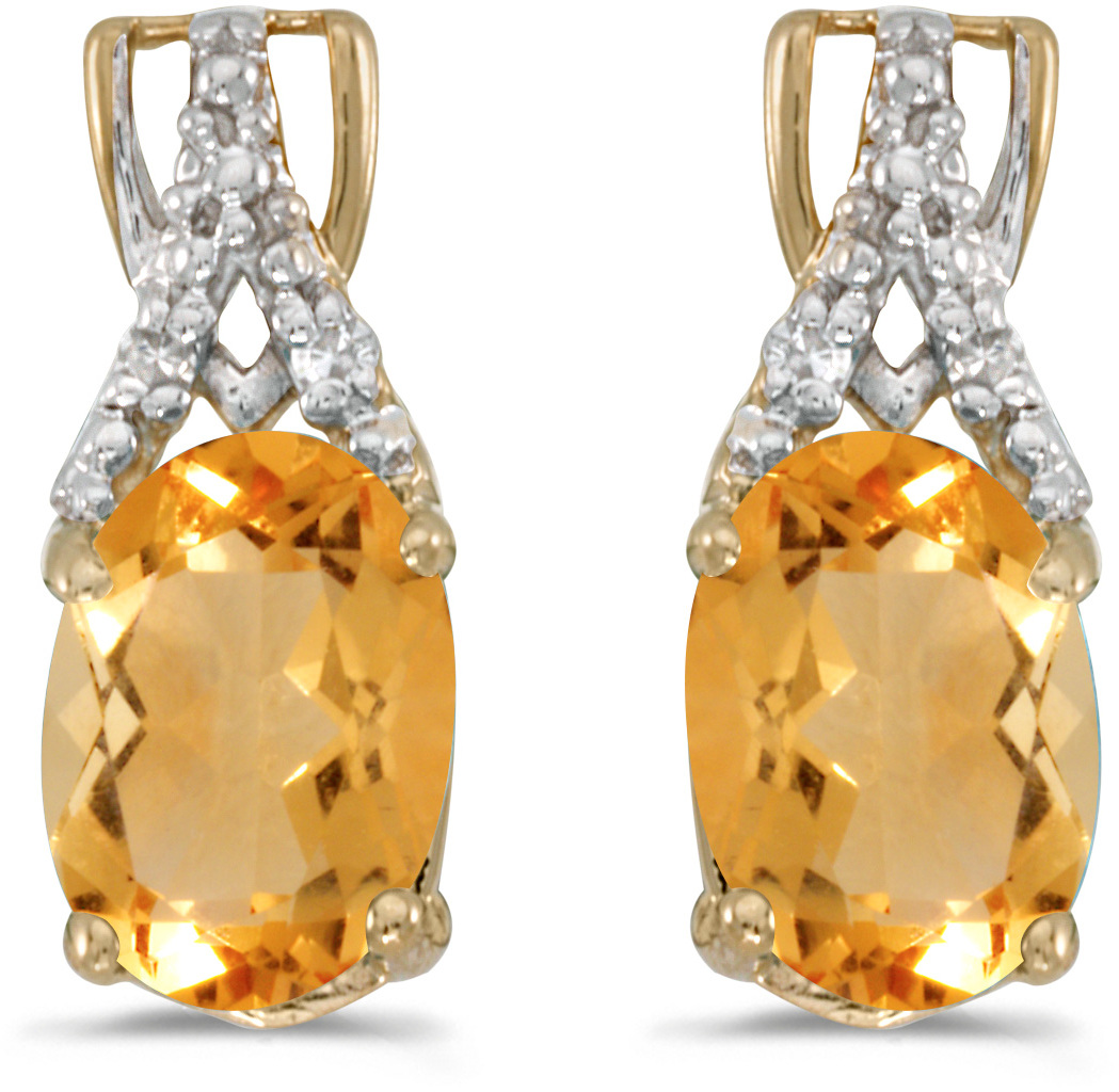 14k Yellow Gold Oval Citrine And Diamond Earrings (CM-E2620X-11)