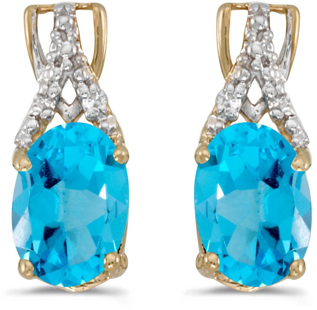 14k Yellow Gold Oval Blue Topaz And Diamond Earrings (CM-E2620X-12)