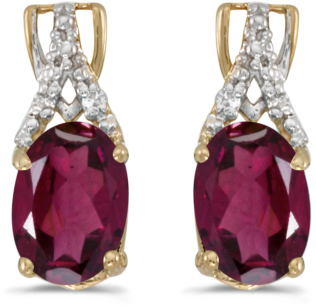 14k Yellow Gold Oval Rhodolite Garnet And Diamond Earrings (CM-E2620X-RG)