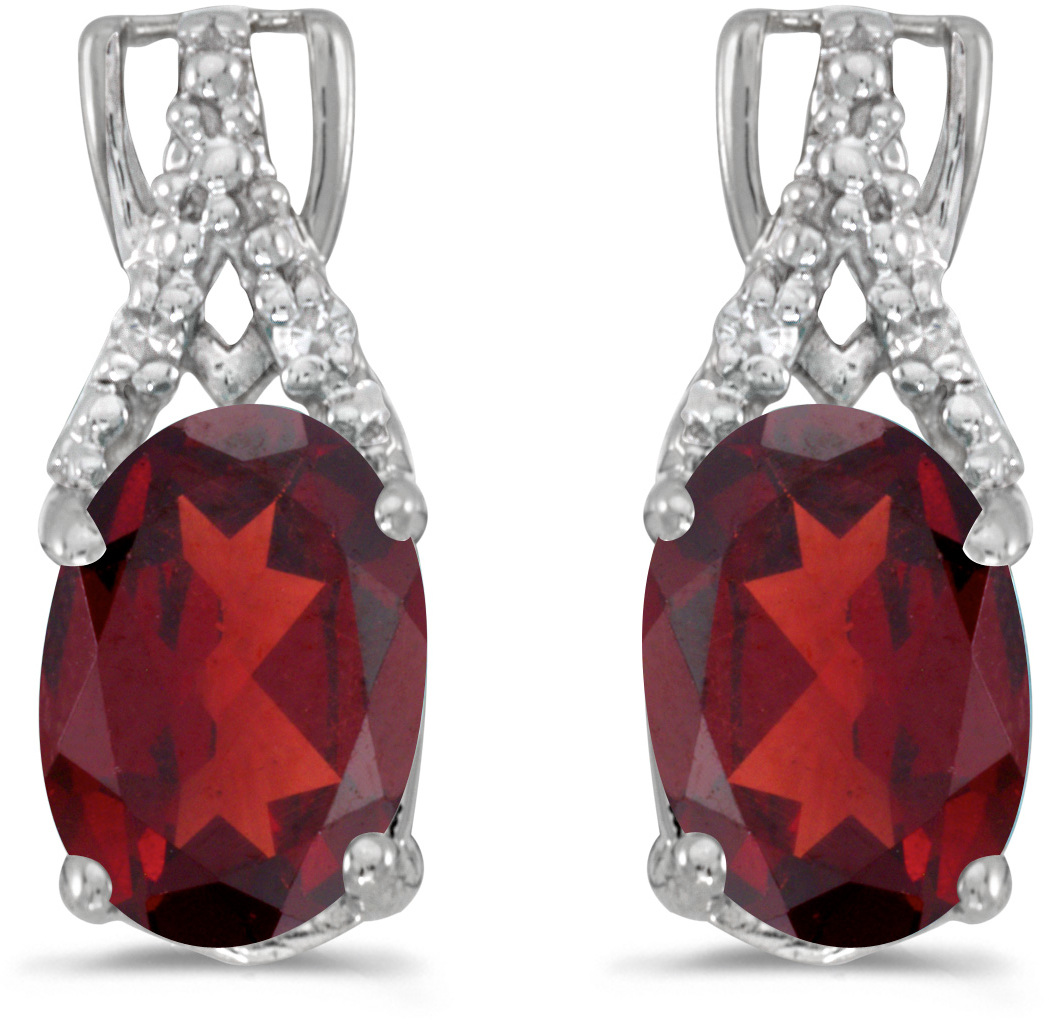 14k White Gold Oval Garnet And Diamond Earrings (CM-E2620XW-01)