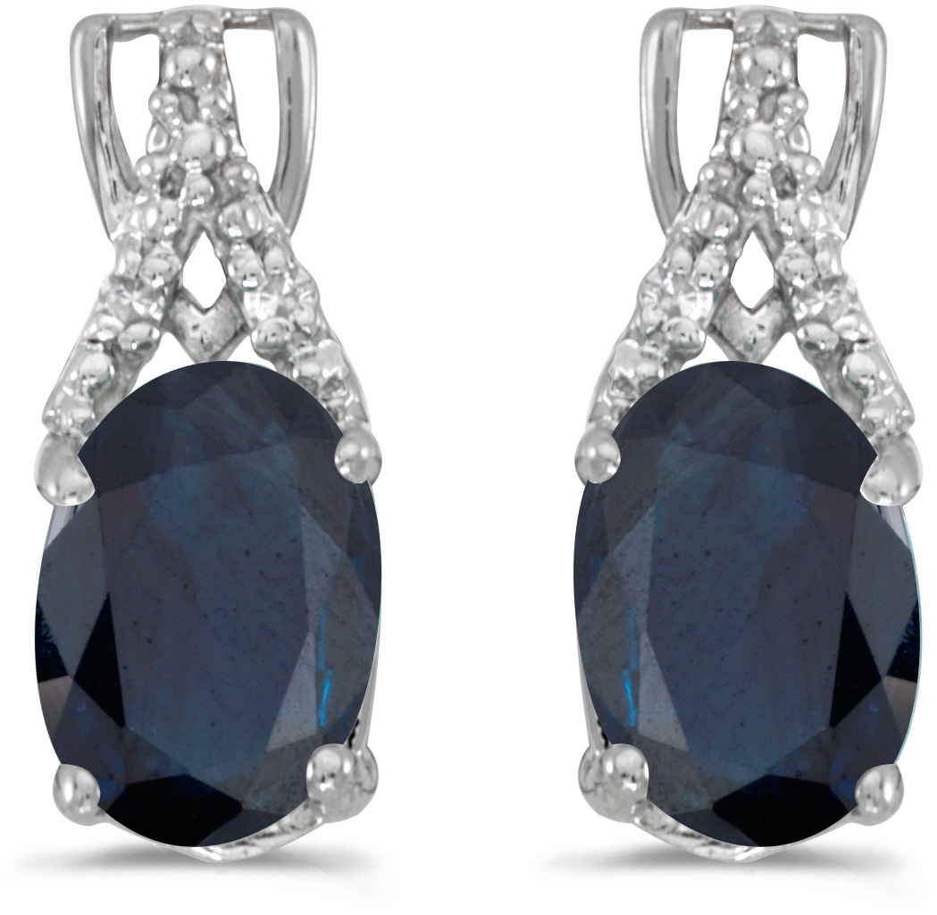 14k White Gold Oval Sapphire And Diamond Earrings (CM-E2620XW-09)