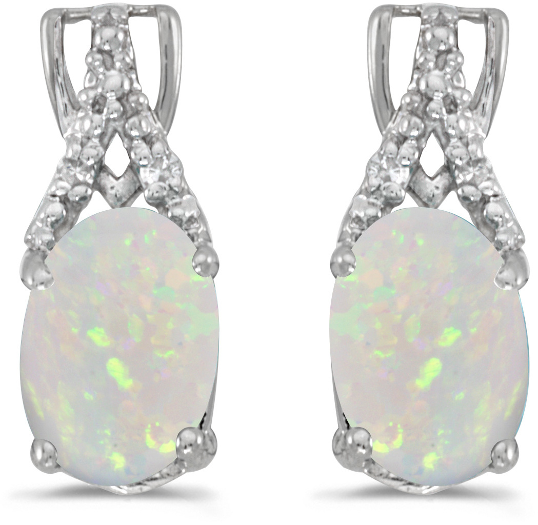 14k White Gold Oval Opal And Diamond Earrings (CM-E2620XW-10)