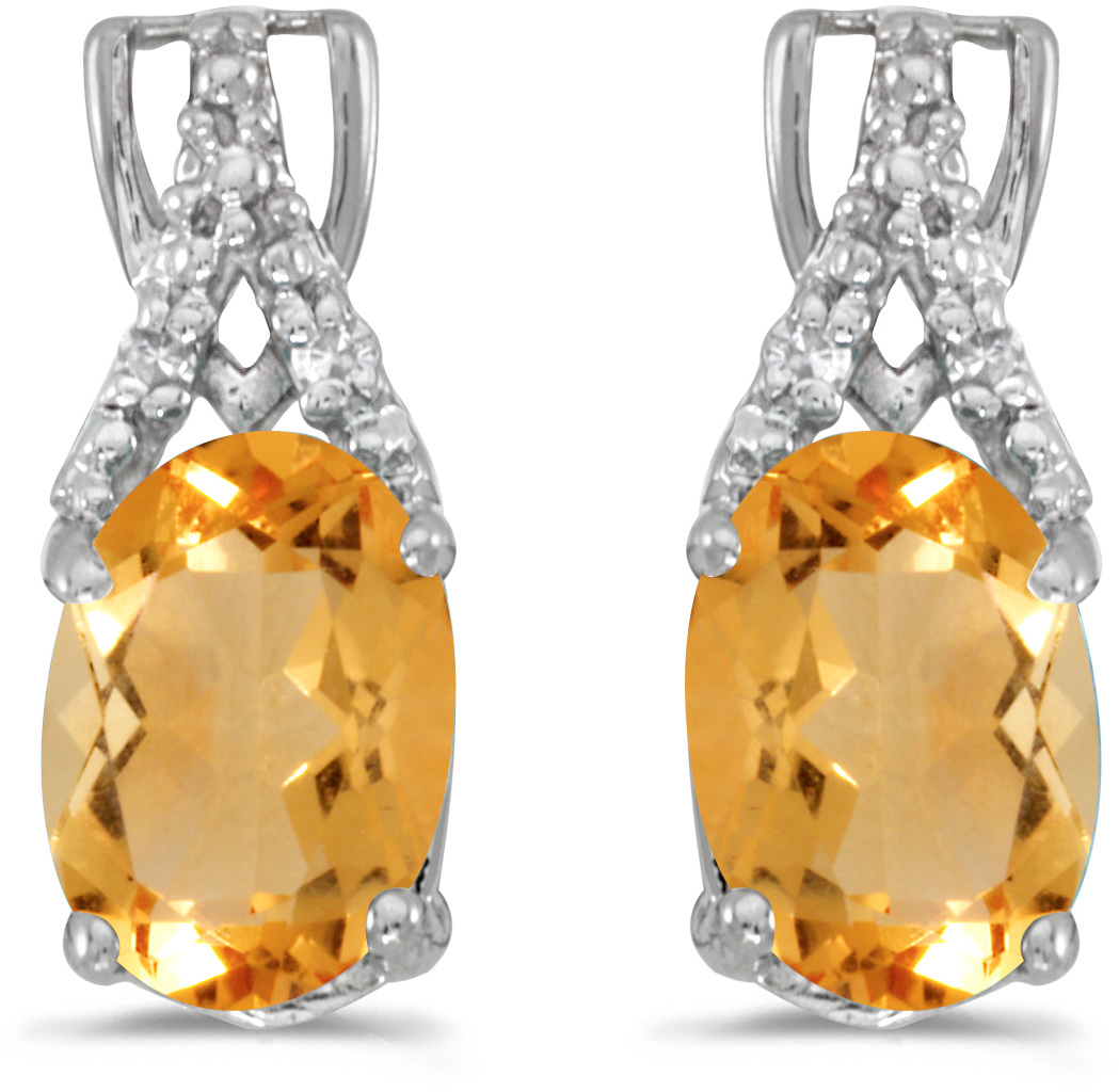 14k White Gold Oval Citrine And Diamond Earrings (CM-E2620XW-11)