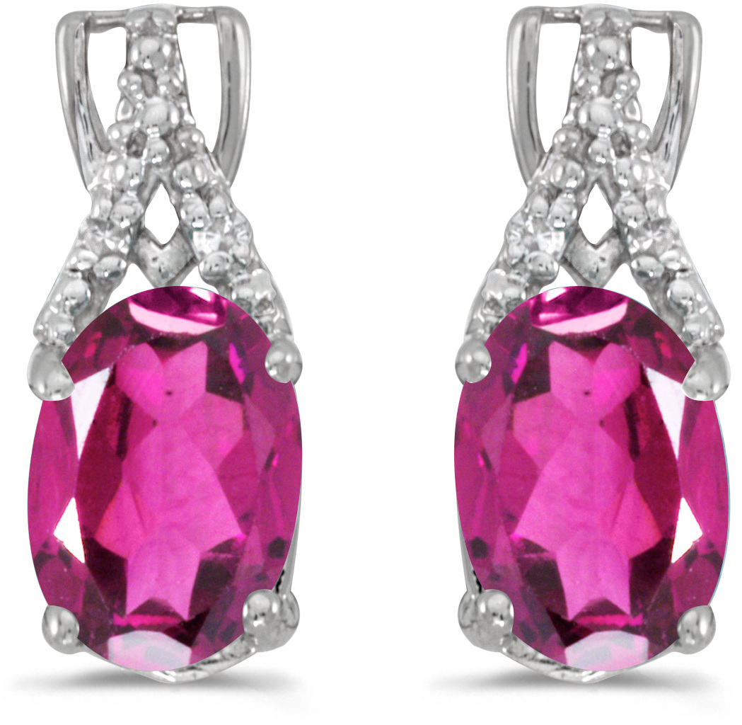 14k White Gold Oval Pink Topaz And Diamond Earrings (CM-E2620XW-PT)