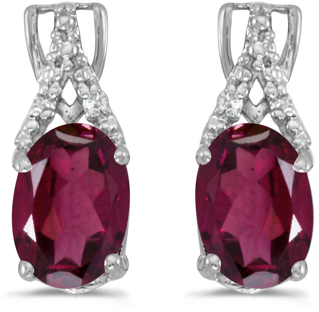 14k White Gold Oval Rhodolite Garnet And Diamond Earrings (CM-E2620XW-RG)