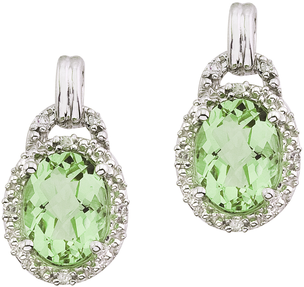 14K White Gold 8x6 Oval Green Amethyst and Diamond Earrings - DISCONTINUED