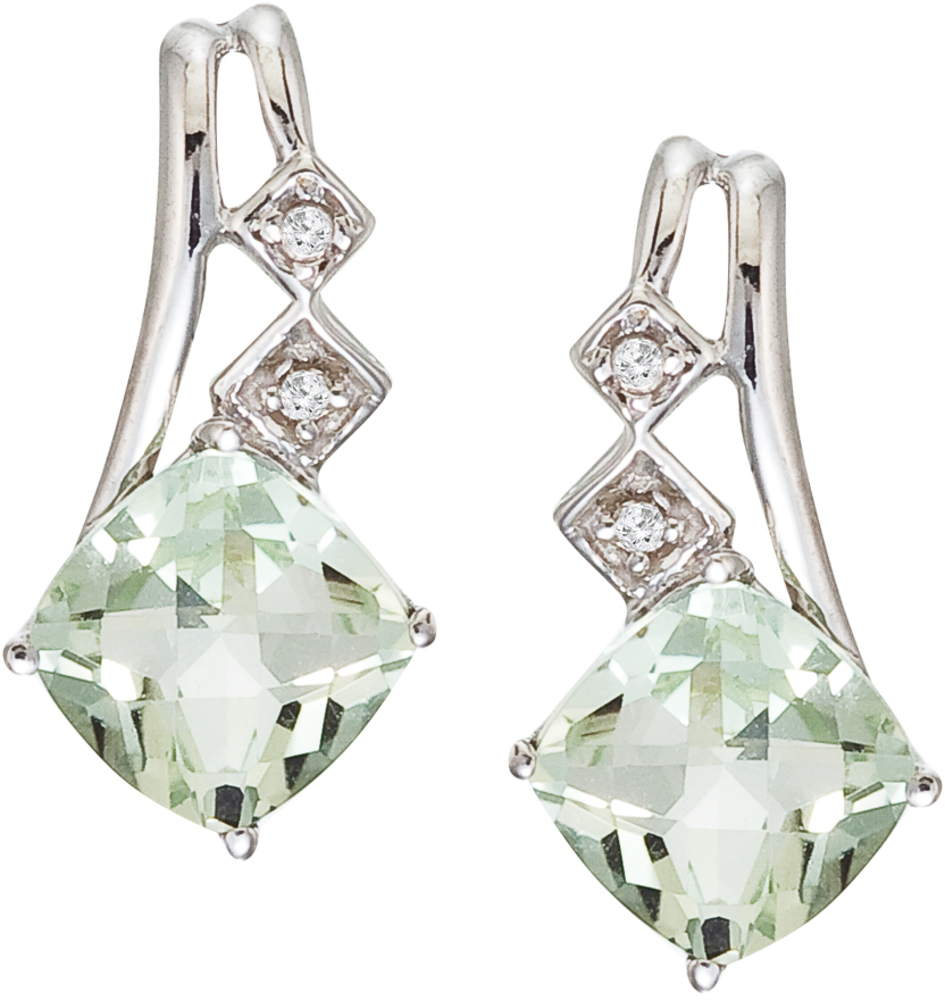 14K White Gold Green Amethyst and Diamond Earrings (CM-E2808W-GA)