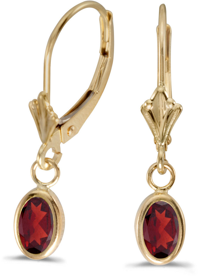 14k Yellow Gold Oval Garnet Bezel Lever-back Earrings (CM-E5009X-01)