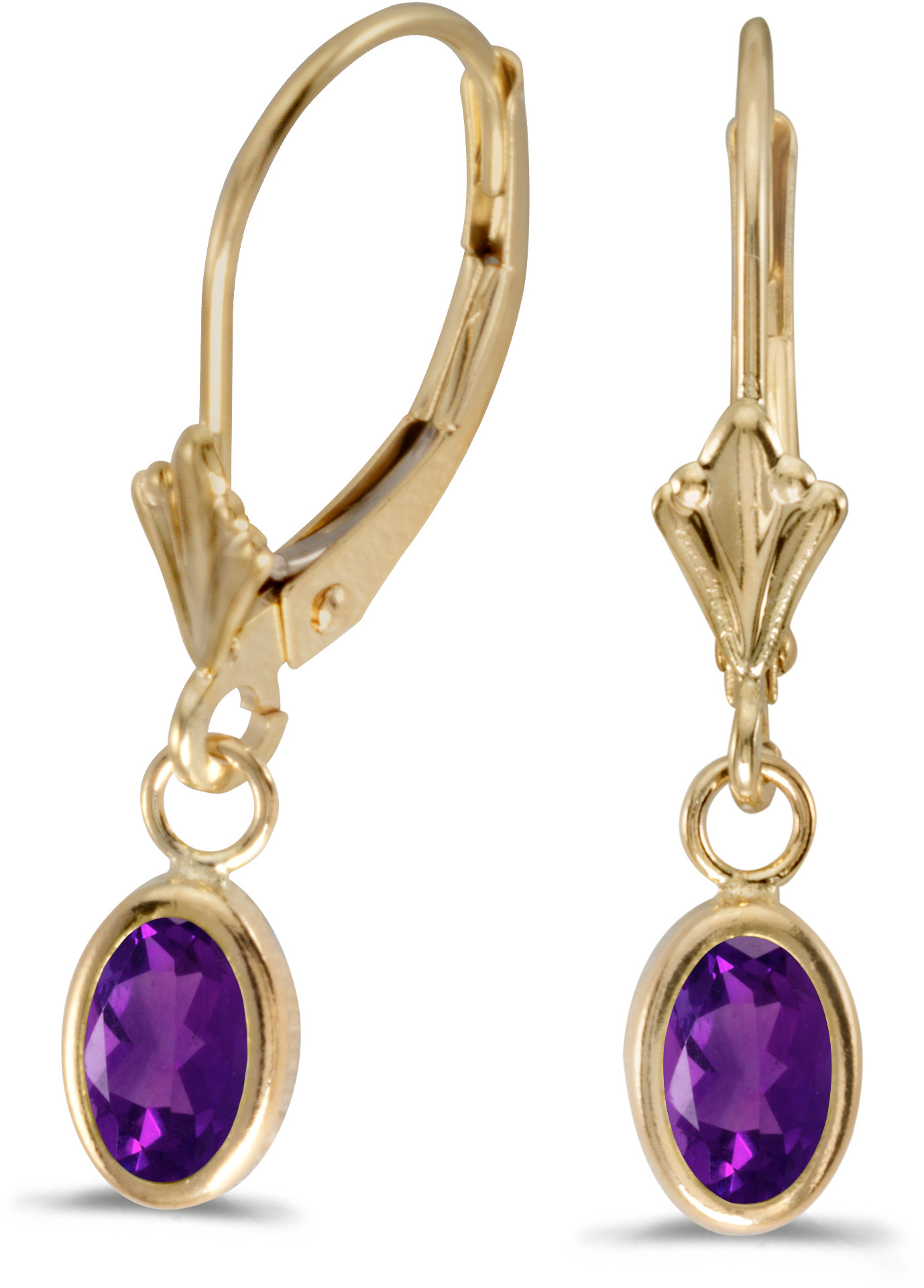14k Yellow Gold Oval Amethyst Bezel Lever-back Earrings (CM-E5009X-02)