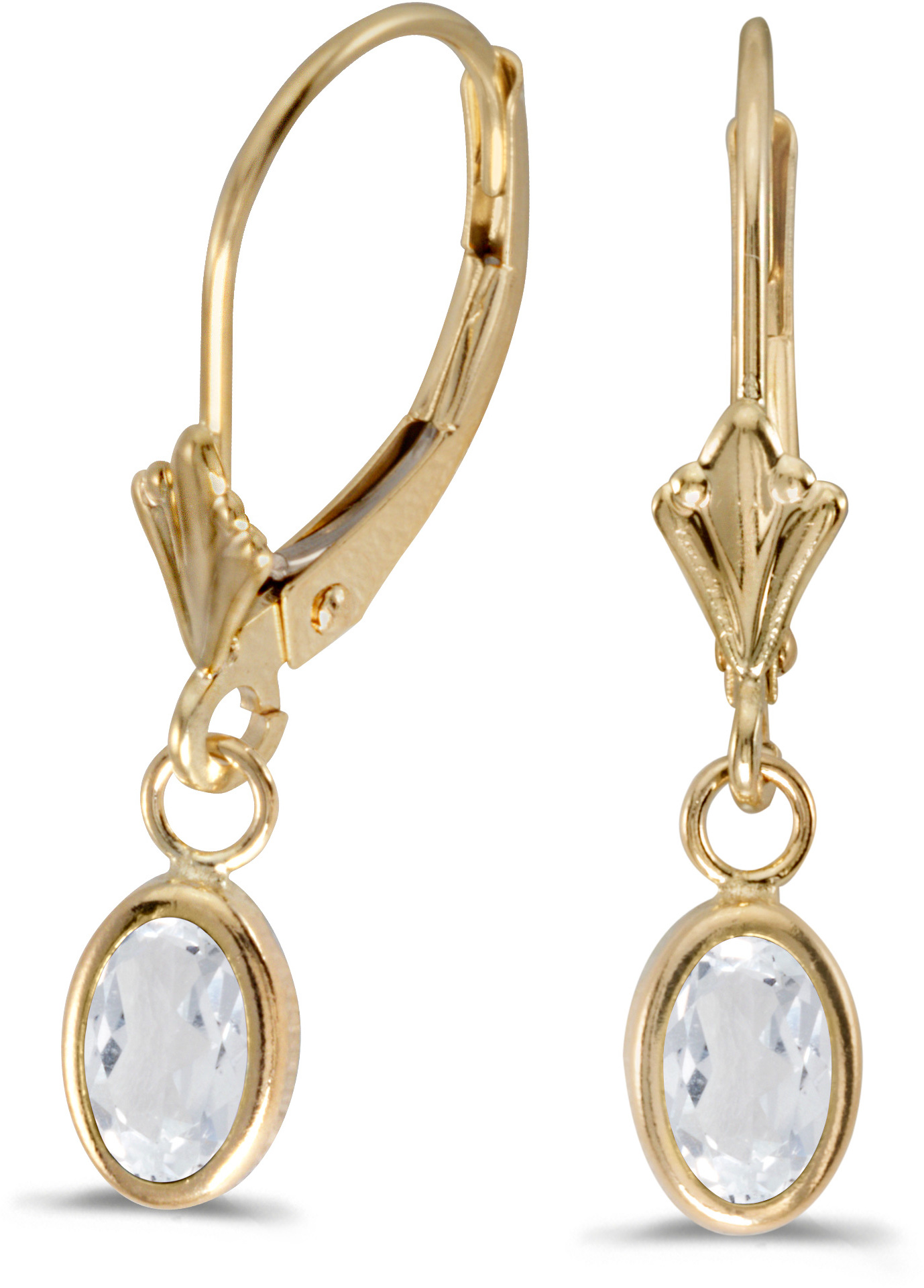 14k Yellow Gold Oval White Topaz Bezel Lever-back Earrings (CM-E5009X-04)