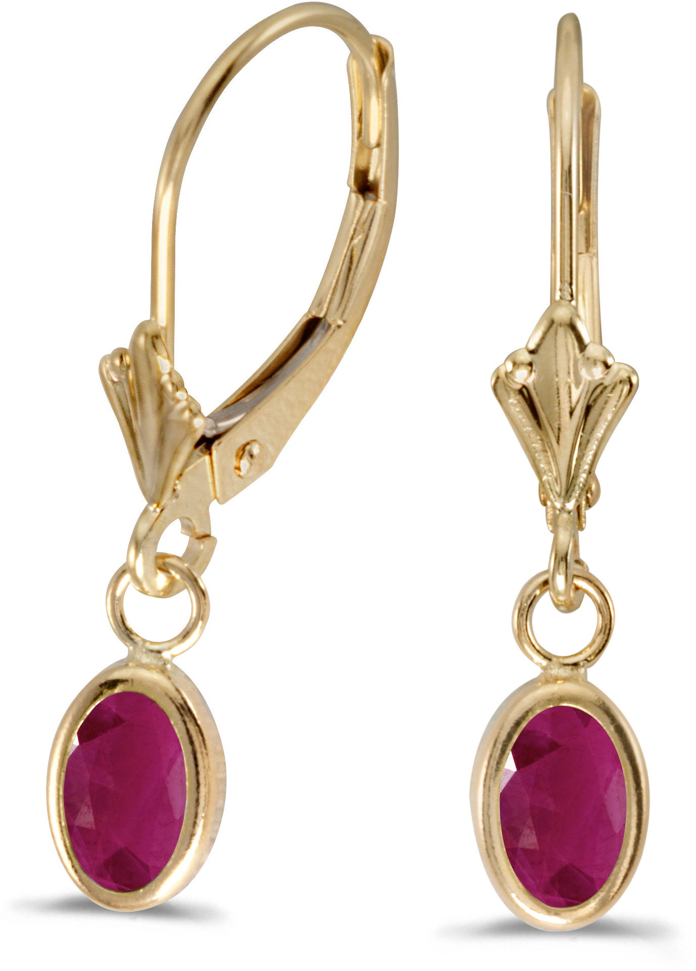 14k Yellow Gold Oval Ruby Bezel Lever-back Earrings (CM-E5009X-07)